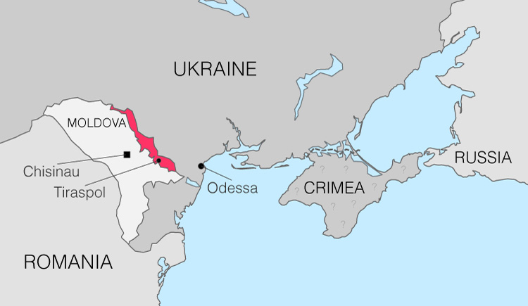 The location of Transnistria compared to its neighbouring countries