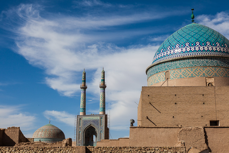 The Jame Mosque of Yazd, together with another dome in the foreground