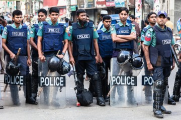 Riot police in Khulna, Bangladesh