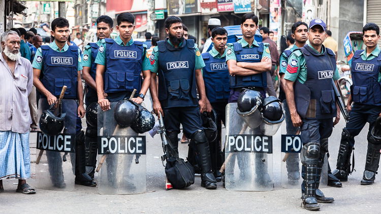 Riot police gathering in Khulna, Bangladesh. During my time of visit Bangladesh was undergoing a period in which especially in the capital city violent demonstrations took place daily