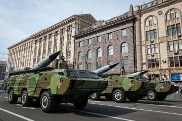 A Soviet-Style Military Parade in the Streets of Kyiv, Ukraine