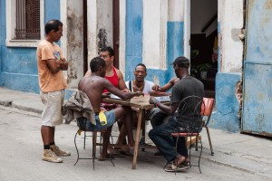 A group of men playing cards in central Havana