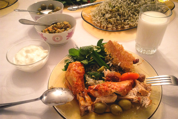 A typical meal in Iran, tasty and healthy