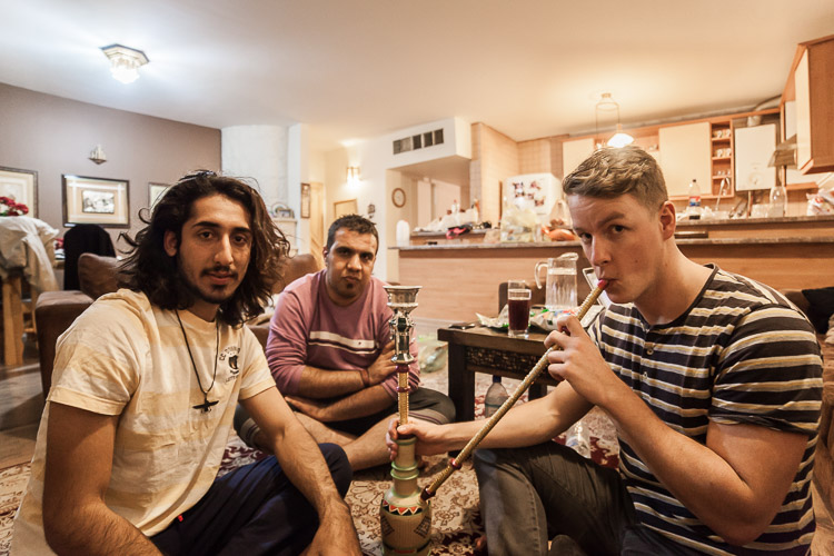 Having some waterpipe after I was hitchhiking and got invited by these people inside their house in Shiraz