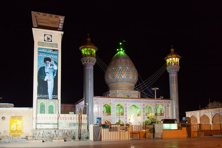 A mosque at night in Shiraz