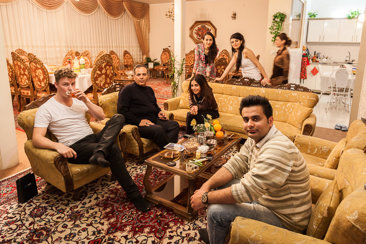 Being invited into a family's house in Arak, once inside women don't wear a hijab