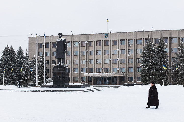 Once barricaded, the regional administration building in Sloviansk now sits there as if nothing happened here during last year.
