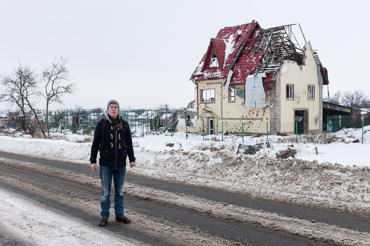 A destroyed house remains where was once a blockpost erected by the pro-Russian Motorola unit in Semenovka.