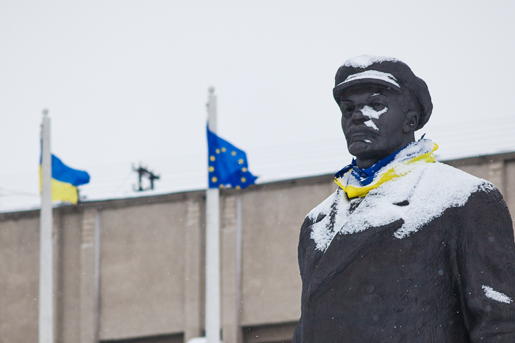 As Lenin watches over the main square of Sloviansk, a lag of the EU is erected in front of the administrative building.