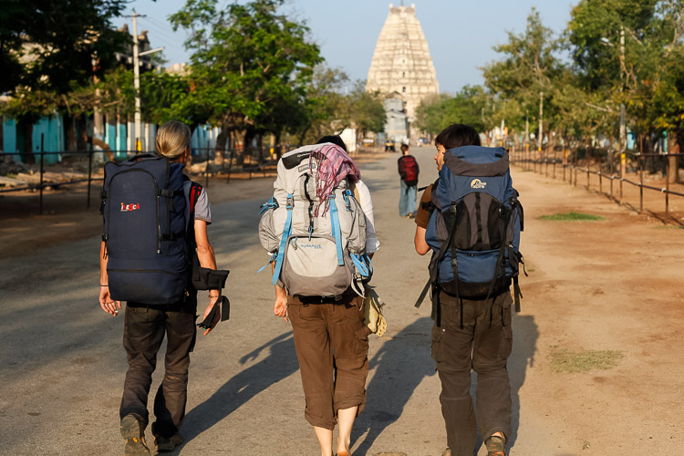 Backbackers travelling in Hampi, India