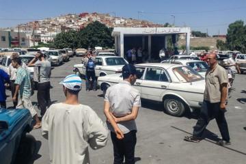 A taxi rank in Morocco