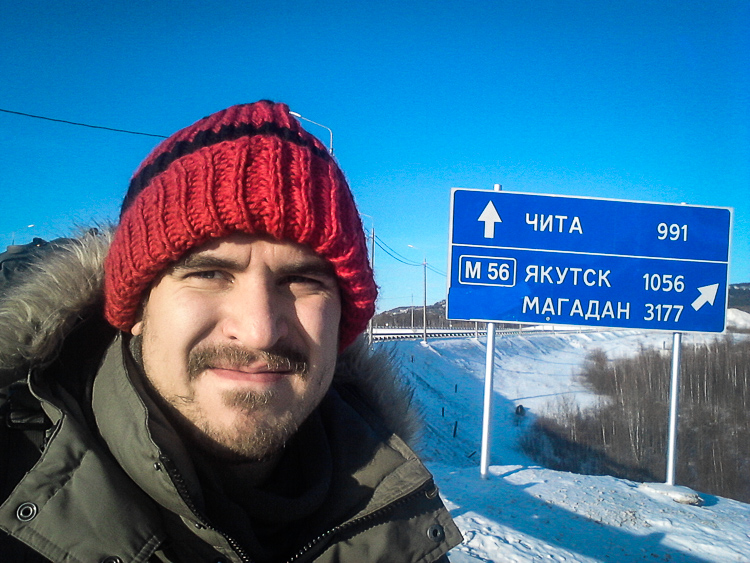 Sebastian Troberg during last winter, 'only' 1056 kilometers away from his final destination