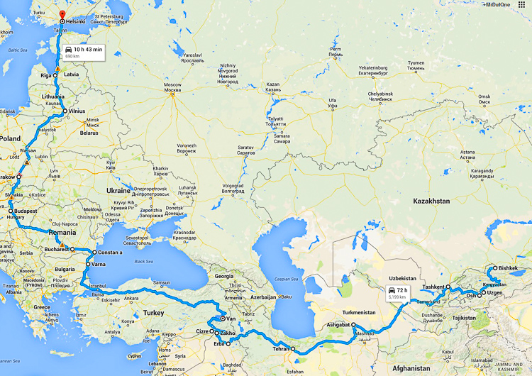 Sebastian's overland route from Bishkek back to Finland, passing through ISIS troubled territory