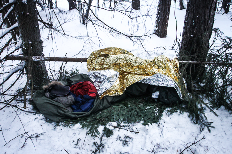 "Spending a night out in the cold woods. ""It feels like home"", says Sebastian"