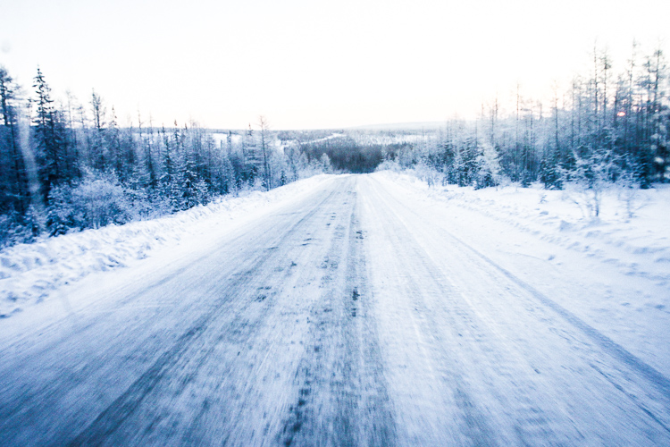 The long, lonely and bitter cold road towards Yakutsk.