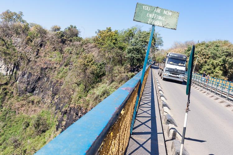 Halfway the famous Victoria Falls bridge