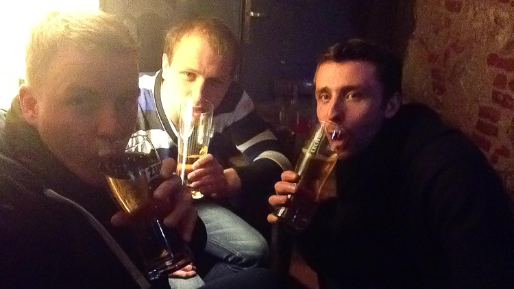 Sharing beers with some good friends in Krakow, Poland during New Year's Eve
