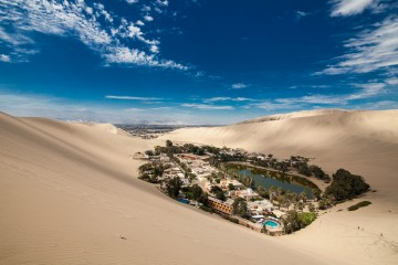 Huachina, an oasis town near the city of Ica in Peru