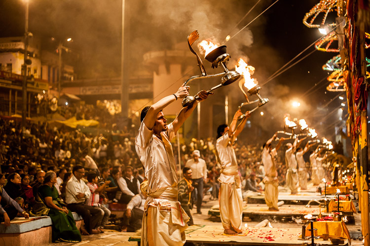 A daily ceremony on the banks of the river Ganges in Varanasi, India