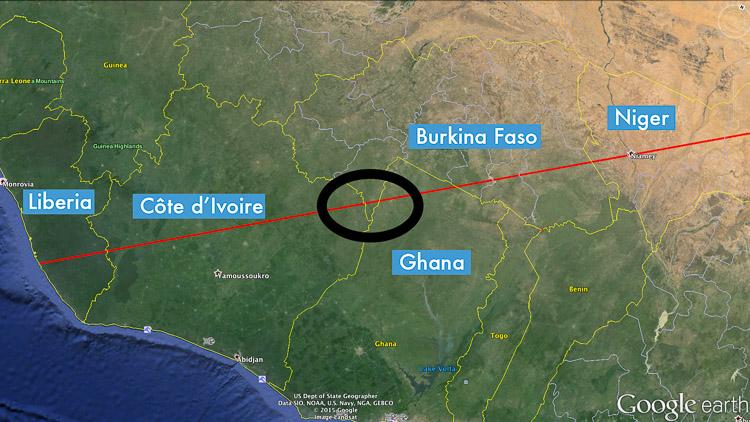 The line runs through Burkina Faso twice