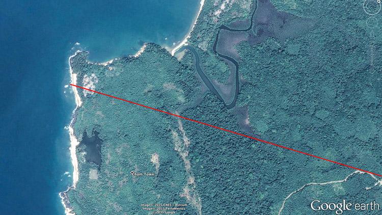 The remote location in Liberia where the route touches the Atlantic Sea