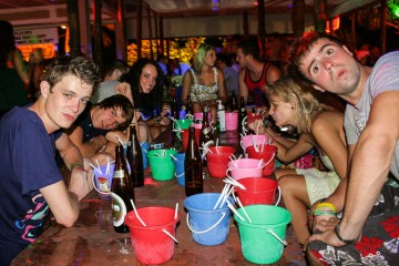 British backpackers boozing up at a pool party on the island of Ko Pha Ngan.