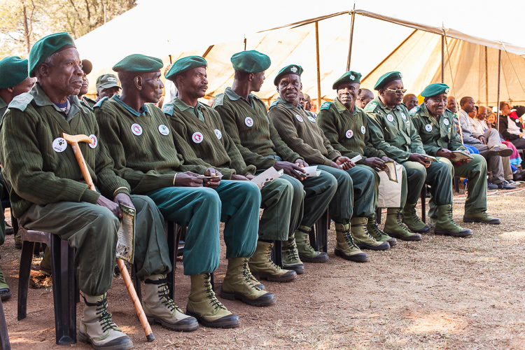 The rangers of Swaziland's wild life parks proudly sitting front row. They daily risk their lives as they battle the illegal poachers who are usually armed to the teeth.