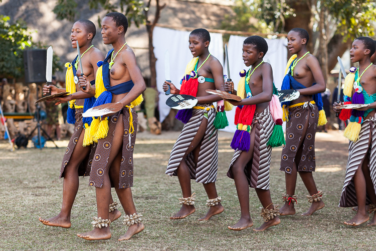 A traditional ceremony takes place as the king of Swaziland is about to arrive