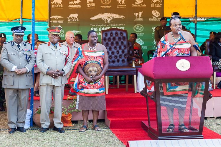 The king of Swaziland during his long speech. In two languages, he talked us through the history of Swaziland and its wildlife conservation efforts.