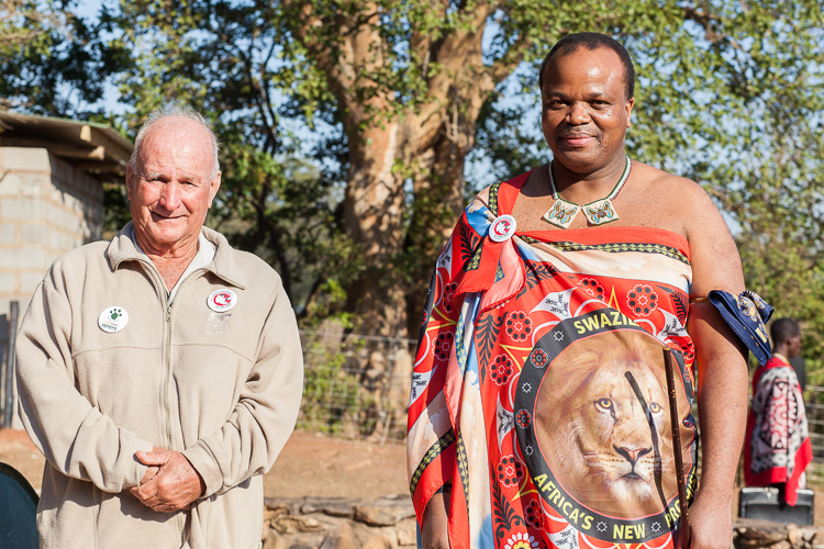 Ted Reilly and Mswati III, seconds before I was called to come closer