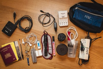 A large selection of my travel gear and accessoiries layed out