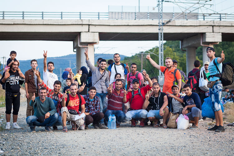 One of the approx. 200 groups that arrive in Idomeni daily. Despite the hard circumstances, the people remain hopeful, positive and hospitable.