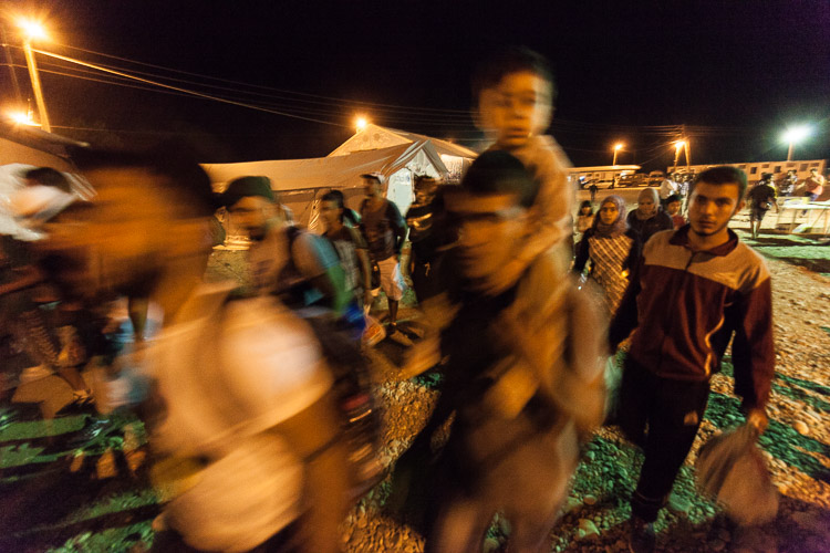 The Gevgelija camp in south Macedonia never sleeps. Thousands of refugees keep pouring in, day and night, every day.