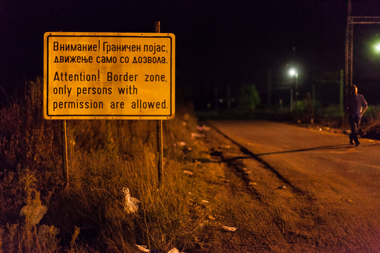 A sign at Tabanovce train station indicates that only persons with permission are allowed access.