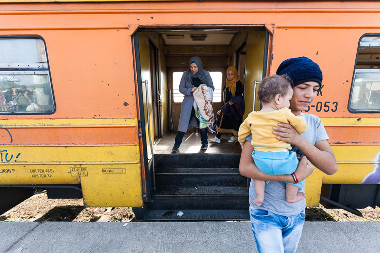 Refugees arrive by train on the early morning at Tabanovce train station, which lays 400 meters from the unofficial border with Serbia.