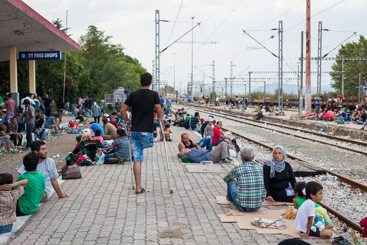 Refugees walk for hours in Greece, trying to reach the (unofficial) border crossing with the Republic of Macedonia. There is no special help to those who are injured, they often rely on their friends or family trying to get to the EU.