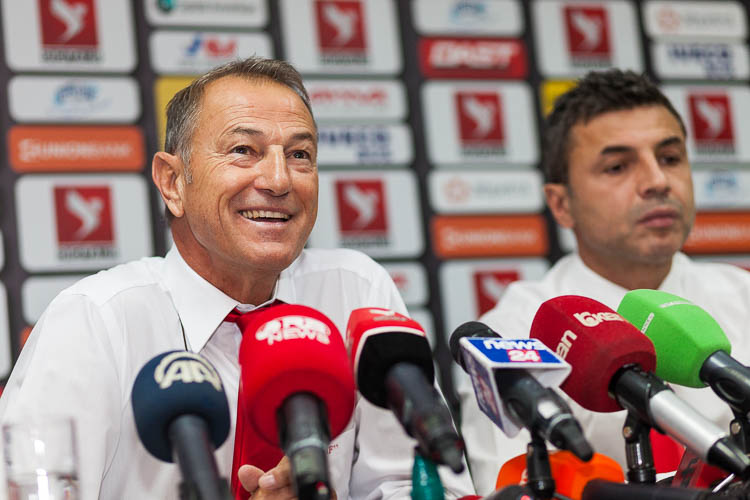 Giovanni De Biasi at a press conference in Albania's capital city on 3 October. Here he announced his player selection for the EURO2016 qualifying game Albania - Serbia.