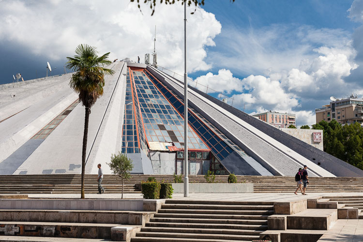Freshly painted, the Pyramid still sits as a reminder of communism in downtown Tirana.