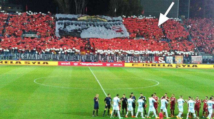 Partizani choreography. The white arrow shows where I was standing. (source: Andy)