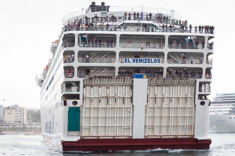 The arrival of El Venizelos, a ferry that transports only refugees from the Greek islands to Piraeus (near Athens).
