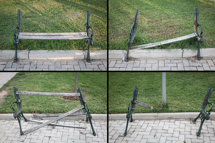 Neglected and forgotten benches in Tirana's park without a name.