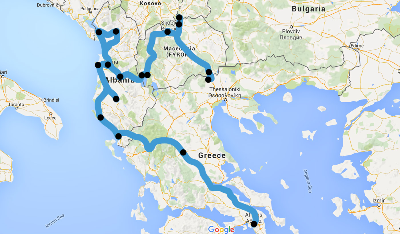 Route after 50 days of travel