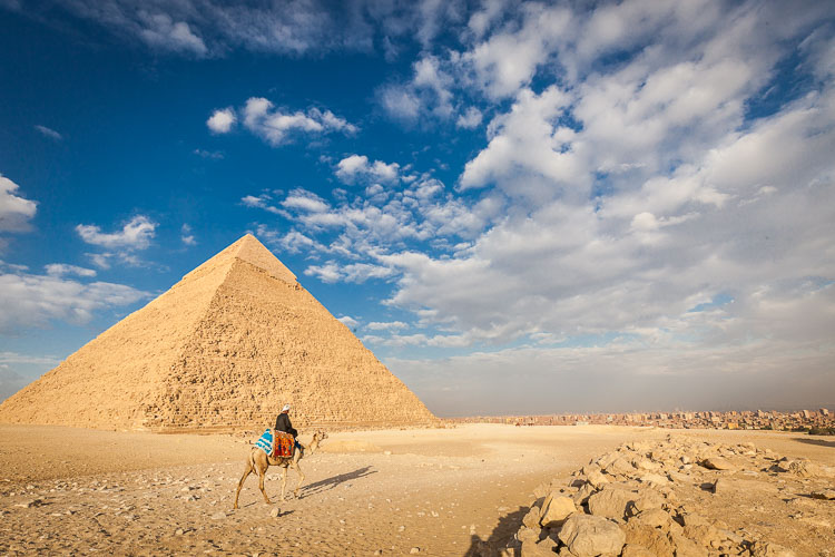 The Giza pyramids of Egypt, located about an hour's drive from downtown Cairo.