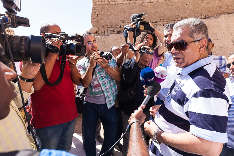 Antiquities Minister Mamdouh Eldamaty in front of the press.