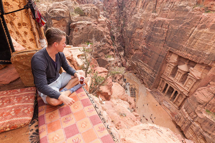 Looking over the ancient rose-red city of Petra, in Jordan.