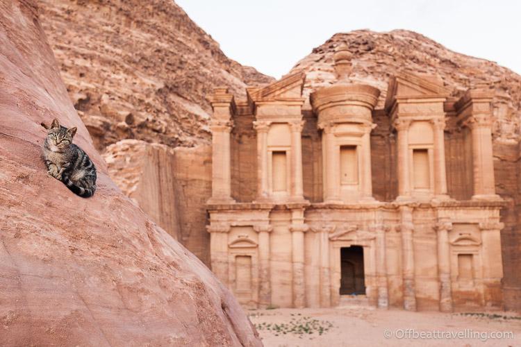 The ancient rose-red city of Petra, in Jordan.