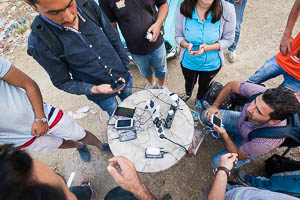 Refugees in Macedonia charging phones