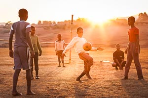 Playing football in Swaziland