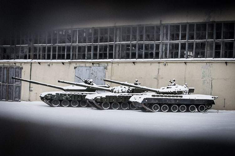 Looking through the fences I spotted several repaired tanks, ready to be redeployed in eastern Ukraine.