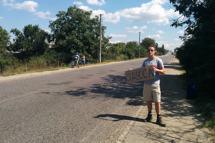 Hitchhiking into Ukraine, minutes before the ride from hell.